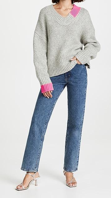 Helmut Lang Camel V Neck Sweater