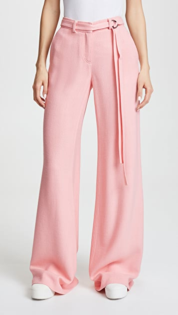 Hellessy Laurent Belted Wide Leg Pants - Coral Pink