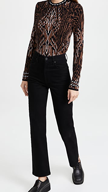 Hayley Menzies Jacquard Fitted Sweater