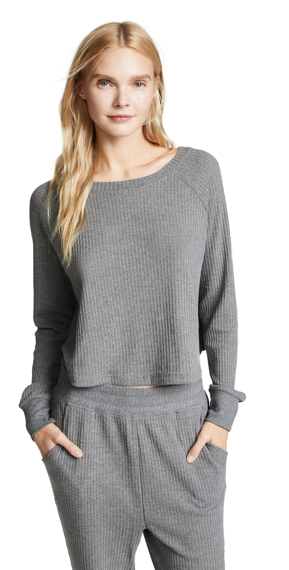 Honeydew Intimates Sneak Peek Waffle Knit Crop Sweatshirt