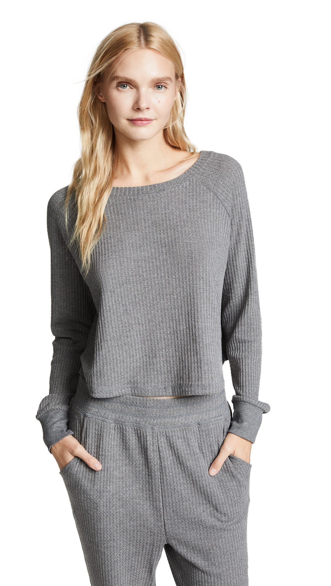 Honeydew Intimates Sneak Peek Waffle Knit Crop Sweatshirt