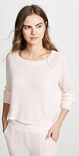 Honeydew Intimates - Sneak Peek Waffle Knit Crop Sweatshirt