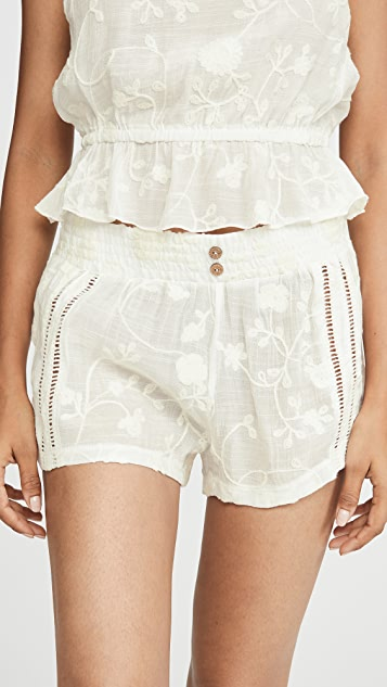 Siesta Sweetheart Embroidered Shorts by Honeydew Intimates