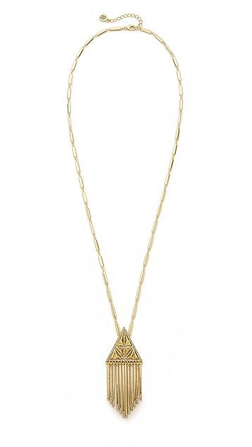 House of Harlow 1960 Golden Hour Fringe Pendant Necklace