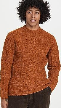 하울링 스웨터 Howlin' Super Cult Aran Crewneck Sweater,Orange Dreams