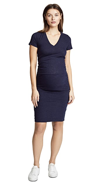 MONROW Maternity Shirred Tee Dress
