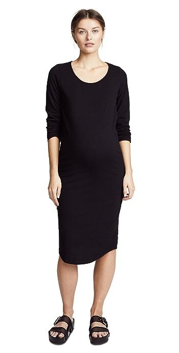 MONROW Maternity Long Sleeve Dress - Black