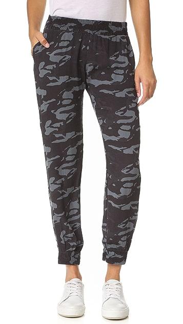MONROW Camo Crepe Skinny Sweatpants