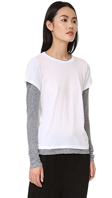 MONROW Double Later Contrast Long Sleeve Tee