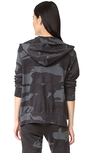 MONROW Oversized Camo Zip Up Hoodie