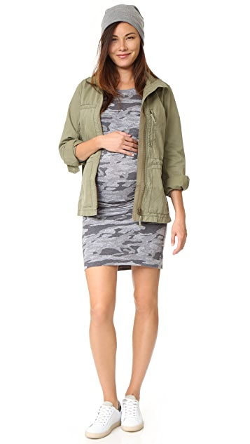MONROW Maternity Oversized Camo Baseball Dress