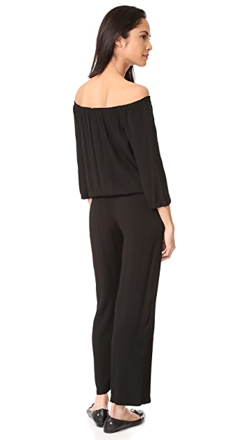 MONROW Off Shoulder Blouson Jumpsuit