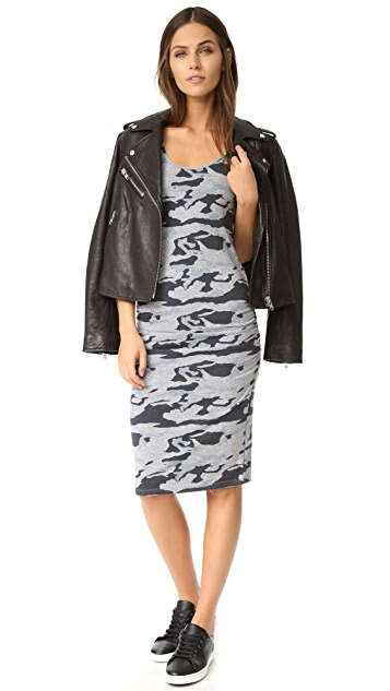 MONROW Granite Shirred Camo Dress