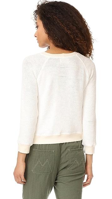 MONROW Open Knit Vintage Raglan Sweatshirt