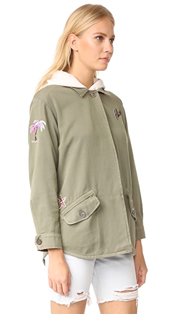 MONROW Vintage Shirt Jacket with Island Patches