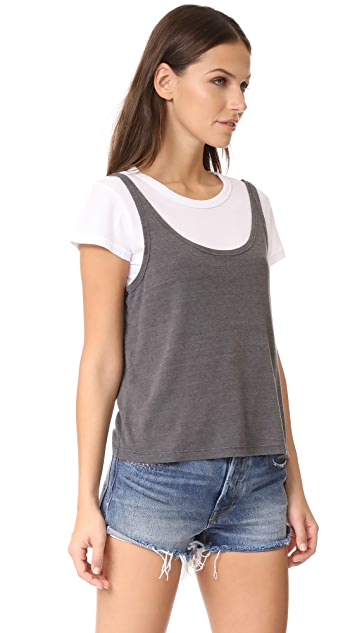 MONROW White Shirt with Rib Tank
