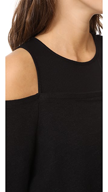 MONROW Double Layer Cold Shoulder Top
