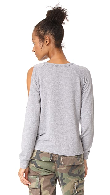 MONROW Slash Shoulder Sweatshirt
