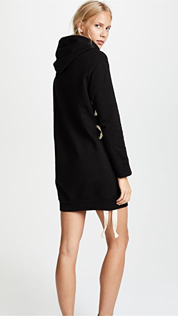 MONROW Lace Up Hoodie Dress