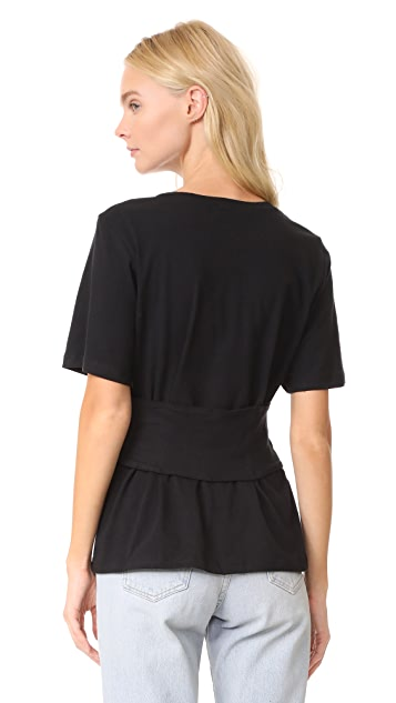 MONROW Black Zip Up Corset Tee