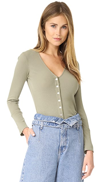 MONROW Long Sleeve V Neck