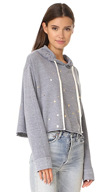 MONROW Oversized Cropped Hoody with Stardust
