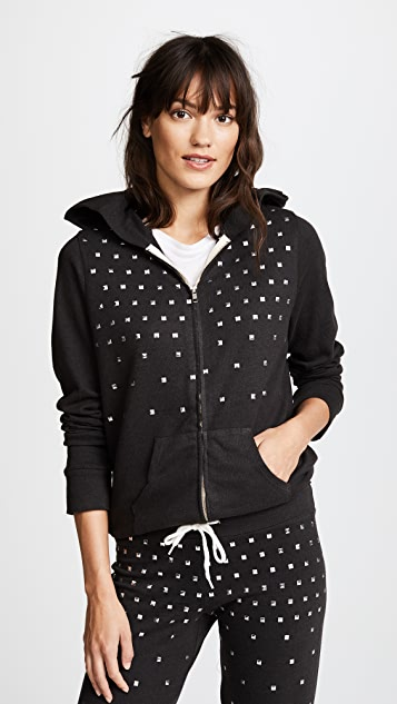 MONROW Zip Up Hoodie with Studs