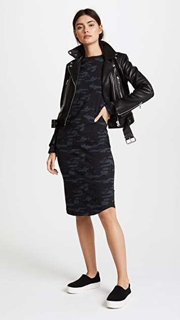 MONROW Camo Fitted Long Sleeve Dress