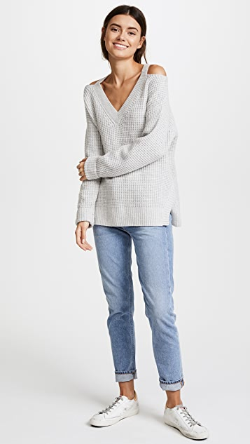MONROW Slash Shoulder Sweater
