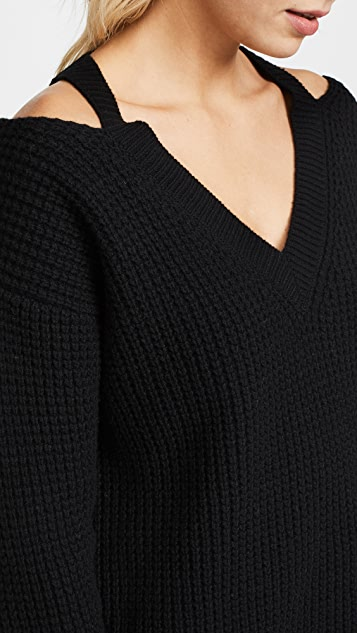 MONROW Slash Shoulder Sweater Knit Top
