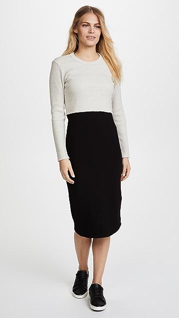 MONROW Double Layer Long Sleeve Dress