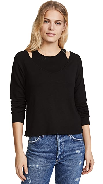 MONROW Double Layering Long Sleeve Top