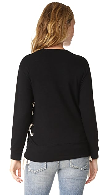 MONROW Maternity Lace Up Sweatshirt
