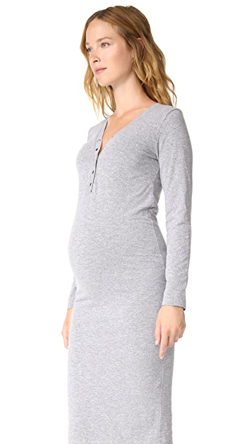MONROW Maternity Henley Midi Dress