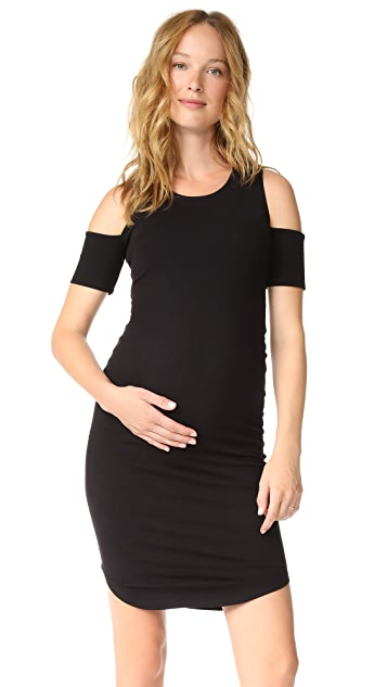 MONROW Maternity Cold Shoulder Dress