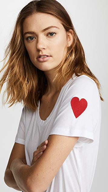MONROW Relaxed Crewneck with Embroidered Heart