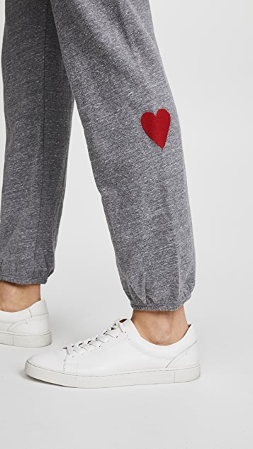 MONROW Sweats with Embroidered Hearts