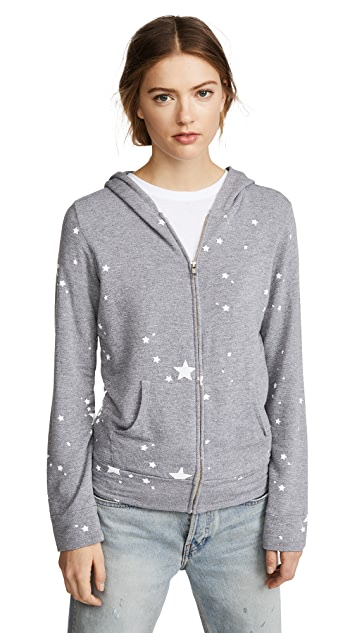 MONROW Zip Up Hoodie with Printed Star Dust