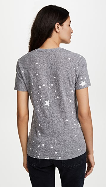 MONROW Relaxed V Neck with Printed Star Dust