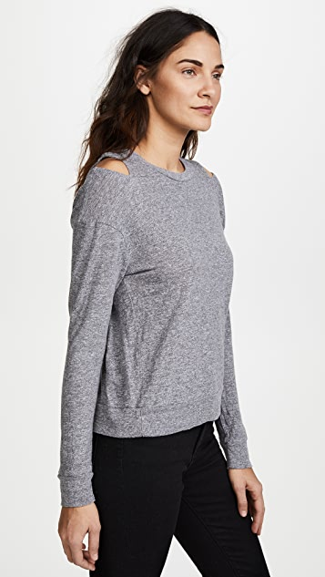 MONROW Neck Cutout Sweatshirt