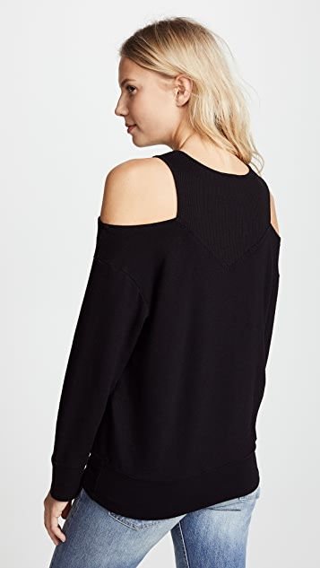 MONROW Off Shoulder Double Layer Sweatshirt
