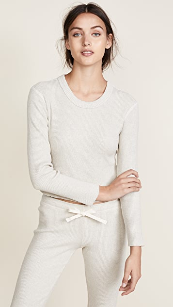 MONROW Raw Long Sleeve Crew Neck Tee
