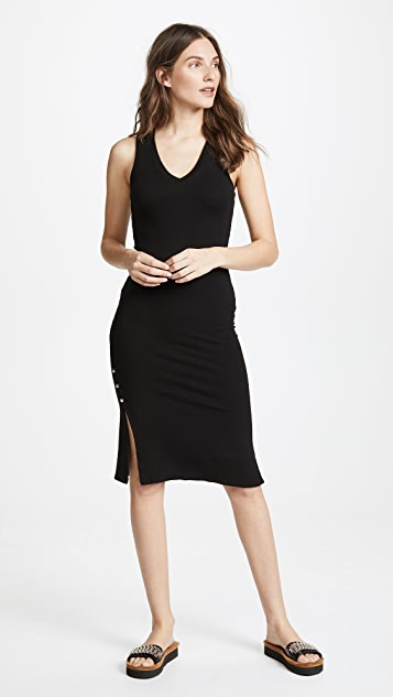 MONROW Side Slit V Neck Dress - Black