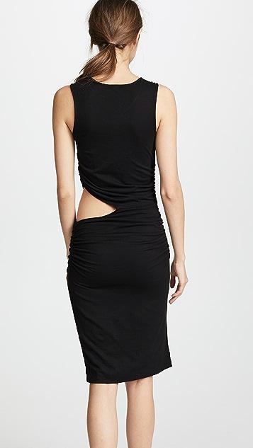 MONROW Shirred Dress with Waist Slit