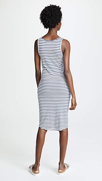 MONROW Stripe Dress with Tie Front