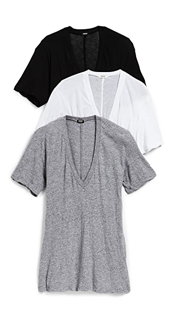 MONROW V Neck Tee 3 Pack