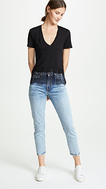 MONROW Relaxed Tee with Lace