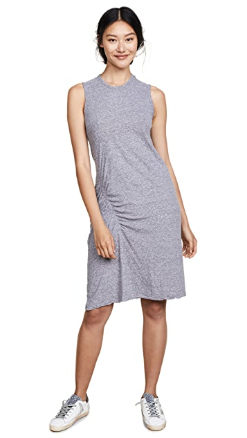 MONROW Asymmetrical Shirred Dress