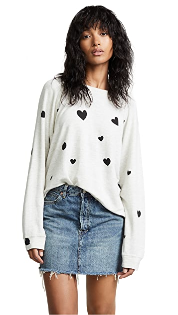 MONROW Raglan Sweatshirt with Scattered Hearts