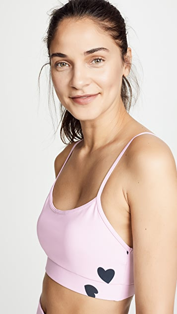 MONROW Sports Bra with Scattered Hearts